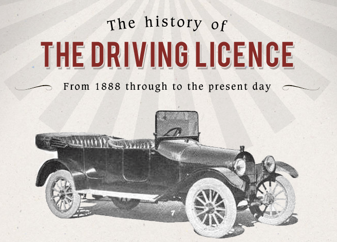 "retro illustration ""The history of the driving licence"" with old car"