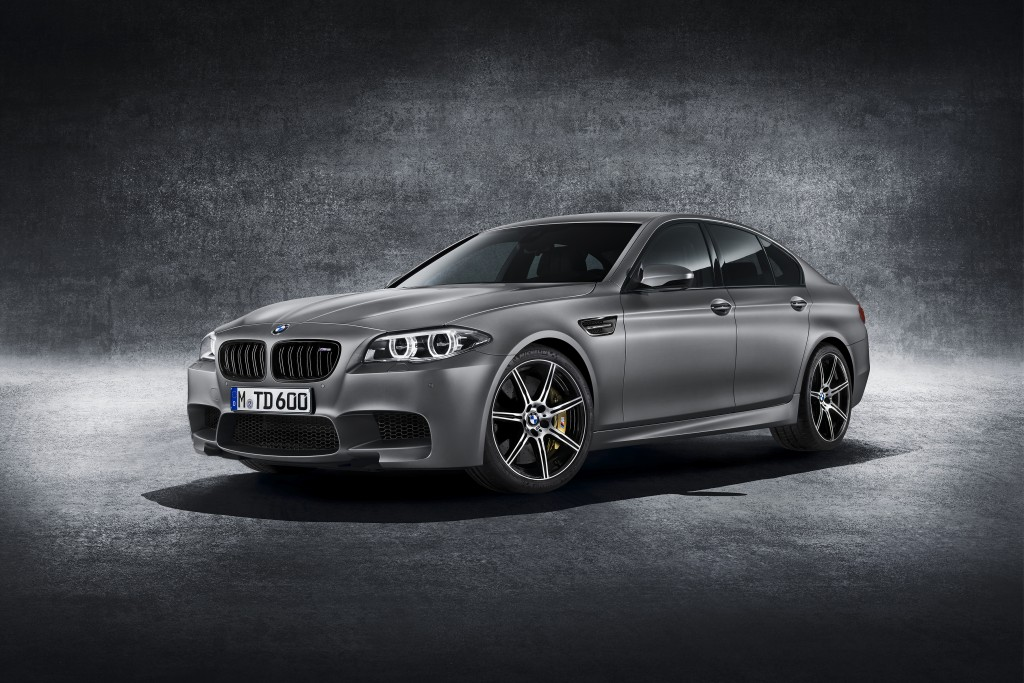 powerful silver grey BMW in studio