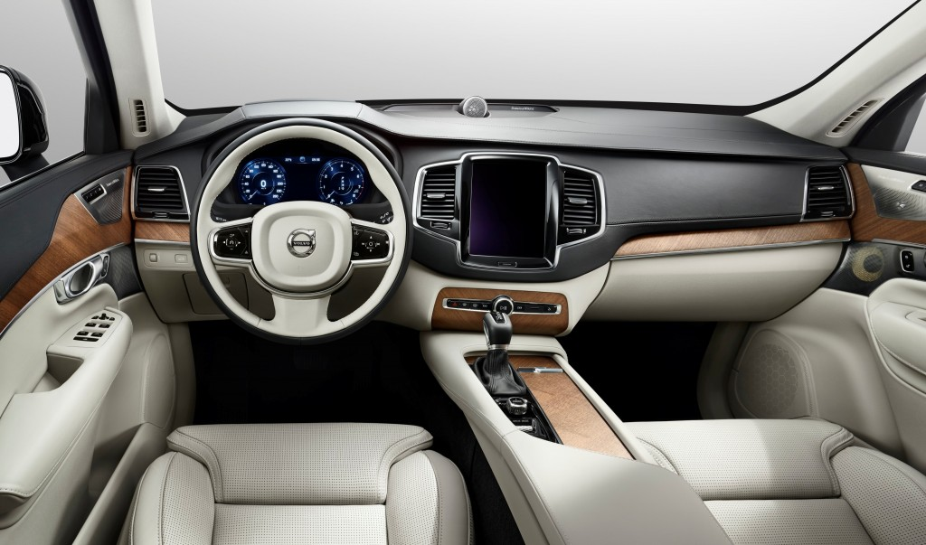 White leather and wood interior of luxury car