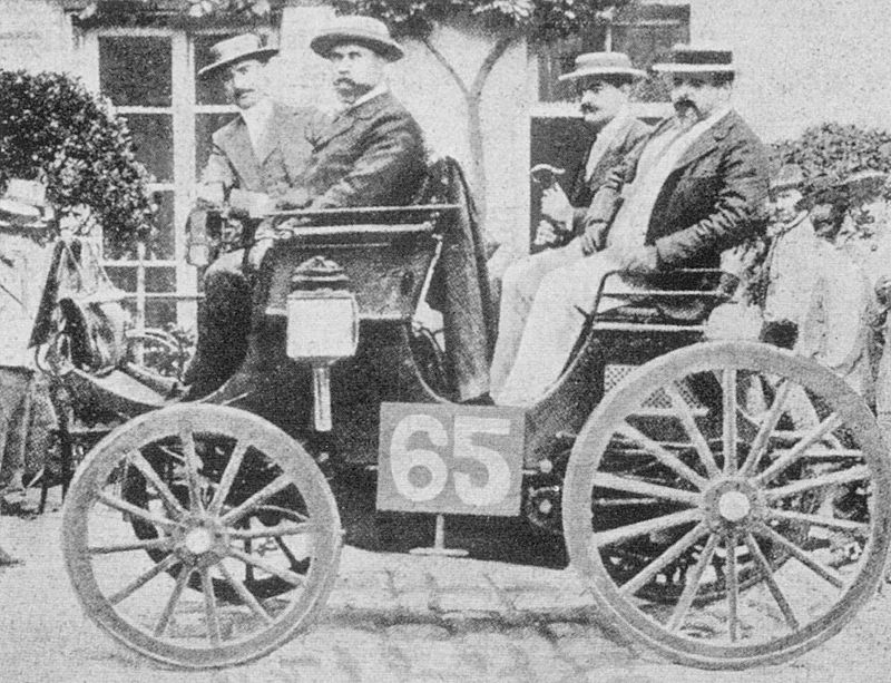 Paris-Rouen 1894. Albert Lemaître (pictured on left) was classified 1st in his Peugeot 3hp