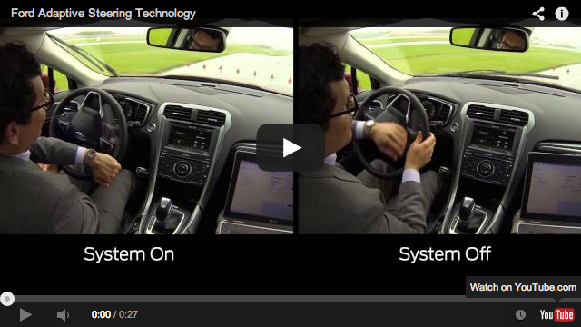 split shot of man driving with Adaptive Steering Technology