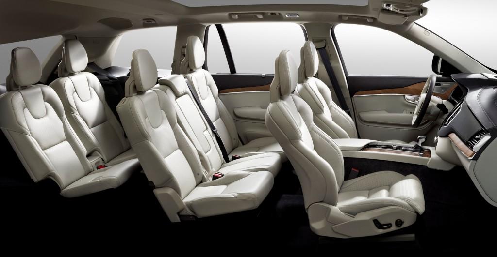 Car interior with seven seats