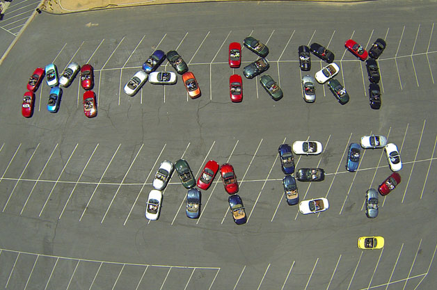 Marriage proposal with 44 Mazdas