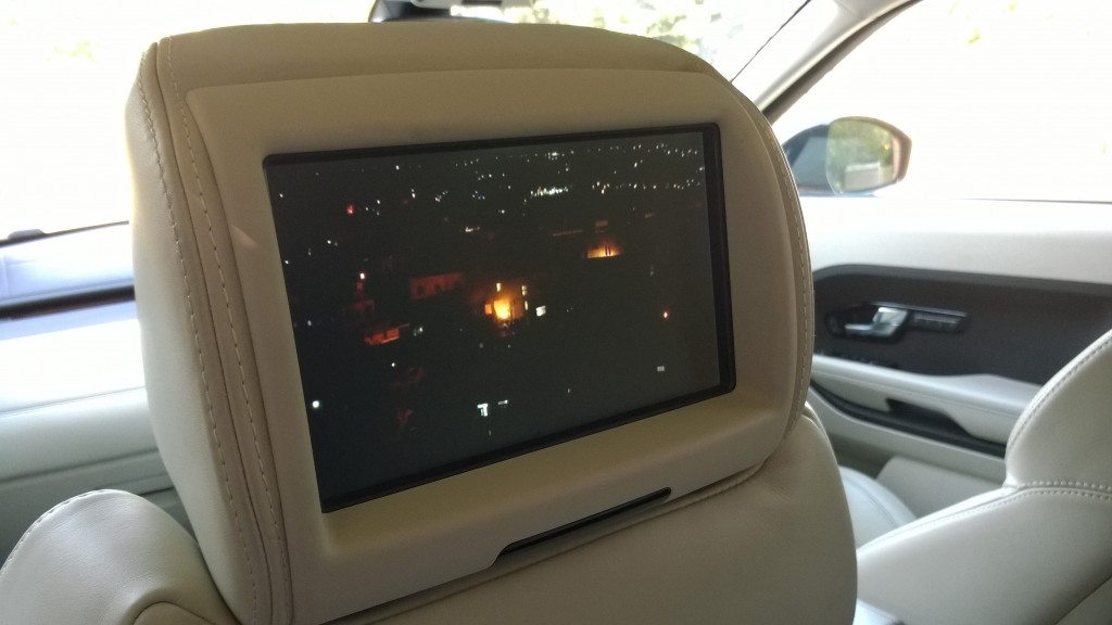 Rear passenger entertainment screen in the Evoque