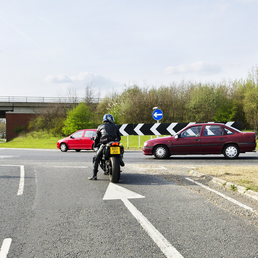 HA0523 - Motorbike on the network. This set of images illustrates bikers driving on motorways and A roads in a safe manner.
